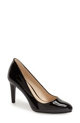 Women's Nine West 'Handjive' Almond Toe Pump Black Faux Leather