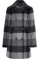 Donna Karan Woman Double Breasted Checked Wool Blend Coat Dark Gray