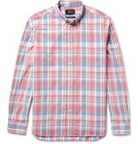 Beams Plus Slim Fit Button Down Collar Checked Cotton Shirt Pink
