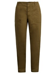 Maison Kitsune High Rise Straight Leg Cotton Trousers Green