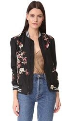 Alice Olivia Lila Embroidered Oversized Bomber Black Multi