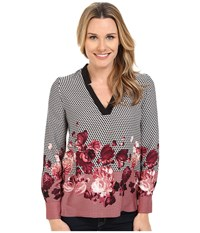 Adrianna Papell Placement Print Tunic Pink Black Women's Blouse