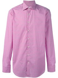 Etro Checked Button Down Shirt Pink And Purple