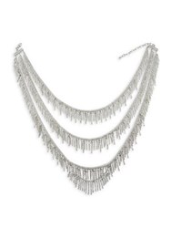 Cristabelle Crystal Four Row Tassel Necklace Silver