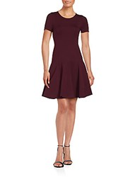 Halston Short Sleeve Jewelneck Pleated Dress Syrah