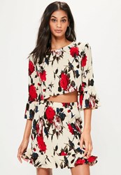 Missguided Cream Frill Sleeve Rose Print Crinkle Blouse