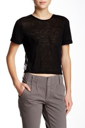 Alice Olivia Lace And Linen Tee Black