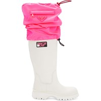 Prada White And Pink Covered Tall Boots