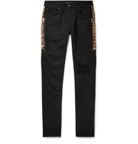 Amiri Skinny Fit Calf Hair Trimmed Distressed Stretch Denim Jeans Black