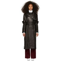 Yang Li Black Leather Trench Coat