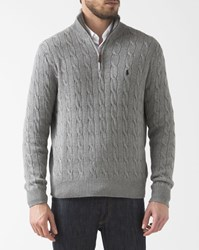 Polo Ralph Lauren Gray Zip Collar Cotton Cable Knit Sweater Grey