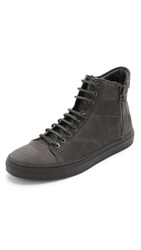 Wings Horns Leather High Top Sneakers Charcoal Charcoal Black