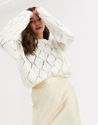 Moon River Open Knit Jumper Cream