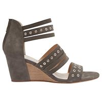 Mint Velvet Toni Wedge Leather Sandals Grey