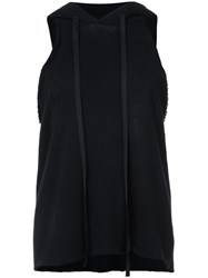 Unravel Project Cropped Sleeveless Hoodie Women Cotton Cashmere S Black