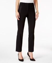 Thalia Sodi Faux Leather Trim Skinny Pants Only At Macy's Deep Black