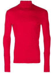 Calvin Klein 205W39nyc Fitted Roll Neck Sweater Cotton M Red