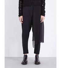 Isabel Benenato Draped Panel Mid Rise Stretch Crepe Trousers Black