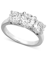 X3 Certified Three Stone Diamond Ring In 18K White Gold 2 Ct. T.W.