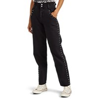Current Elliott Debbie Studded Cotton Linen Wide Leg Pants Black
