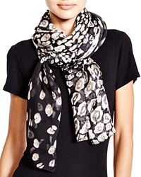 Helene Berman Spotted Animal Print Square Scarf Black