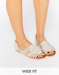 Asos Jesper Wide Fit Leather Summer Shoes Off White