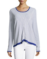 Nicole Miller Ottoman Tuck Striped Top Navy White
