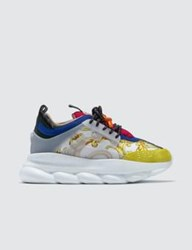 Versace Feather Print Multicolor Chain Reaction Sneakers