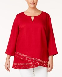 Jm Collection Plus Size Embellished Tulip Hem Linen Top Only At Macy's New Red Amore
