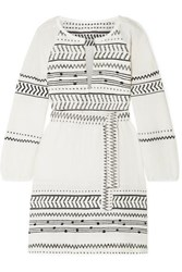 Lemlem Maya Embroidered Cotton Blend Gauze Mini Dress Ivory