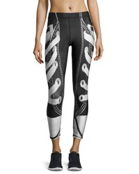 Terez Laces Out Athletic Leggings Black White Black White