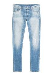 7 For All Mankind Seven For All Mankind Distressed Slim Leg Jeans Blue
