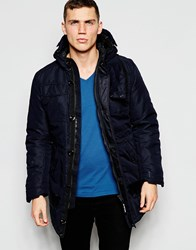 G Star G Star Hooded Parka Coat Mfd Heavy Padded Lias Twill Mazarineblue