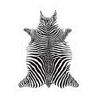 Podevache Zebra Collection Vinyl Floor Mat White Black And White