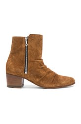 Amiri Suede Stack Boots In Brown