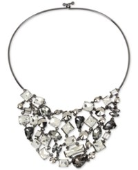 Kenneth Cole New York Hematite Tone Metallic Crystal Statement Necklace Multi