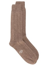 Eleventy Ribbed Socks Brown