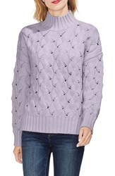 Vince Camuto Texture Stitch Mock Neck Sweater Light Thistle
