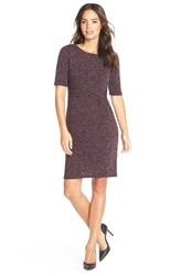 Petite Women's Ellen Tracy Heathered Knit Sheath Dress Port