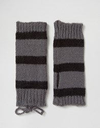 Hat Attack Stripe Fingerless Glove Grey Black
