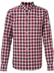 Moncler Gamme Bleu Checked Button Down Shirt Men Cotton I Red