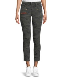 Etienne Marcel Camo Print Cropped Skinny Jeans Olive