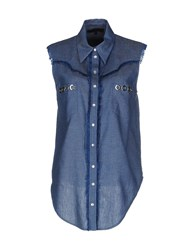 American Retro Denim Denim Shirts Women Blue