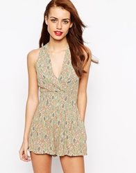 Love Paisley Playsuit With Pleat Front Beigepaisley