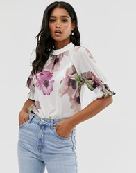 Ted Baker Cayliee Puff Sleeve Floral Top Multi