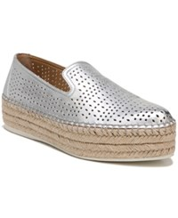 Franco Sarto Elliot Perforated Flatform Espadrilles Silver