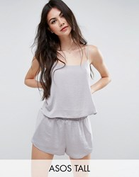 Asos Tall Chiffon Side Satin Cami And Short Pyjama Set Silver