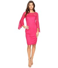 Laundry By Shelli Segal Bell Sleeve Lace Cocktail Dress Raspberry Women's Dress Pink