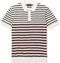 Tod's Slim Fit Striped Cotton And Linen Blend Polo Shirt Navy