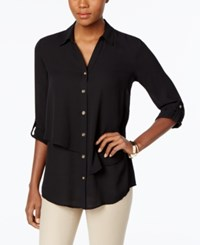 Jm Collection Tiered Roll Tab Blouse Only At Macy's Deep Black